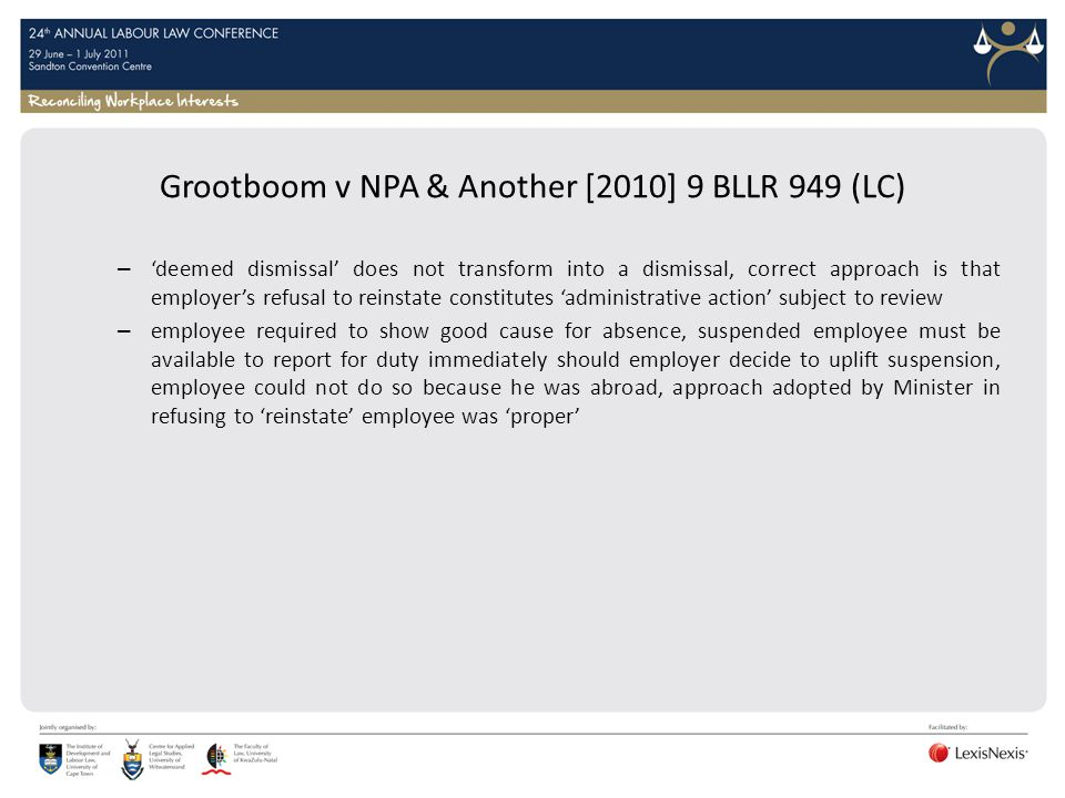 Grootboom v NPA & Another [2010] 9 BLLR 949 (LC)